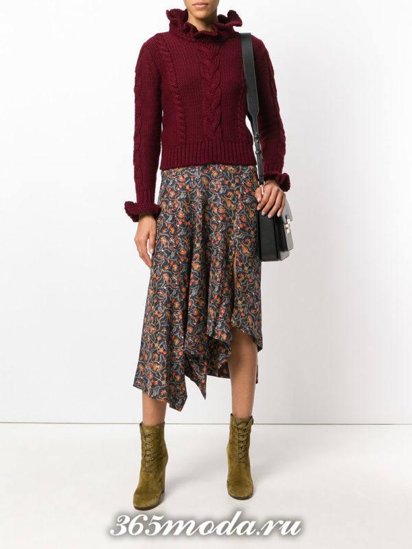 модный вязаный свитер с оборками осень-зима