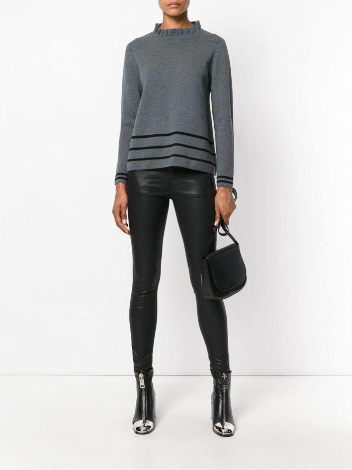 модный вязаный серый свитер осень-зима