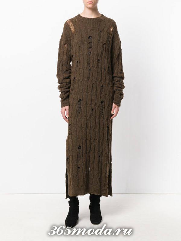 модное вязаное длинное платье осень-зима