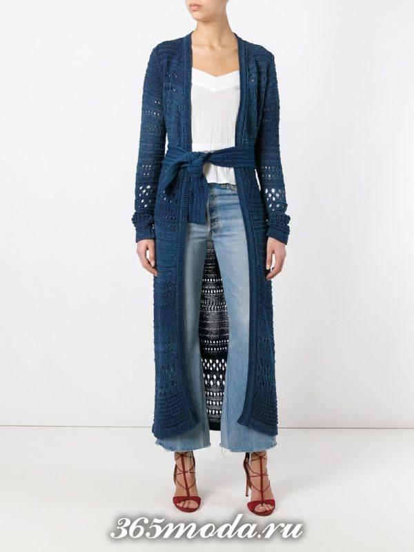 вязаное синее пальто с поясом осень-зима