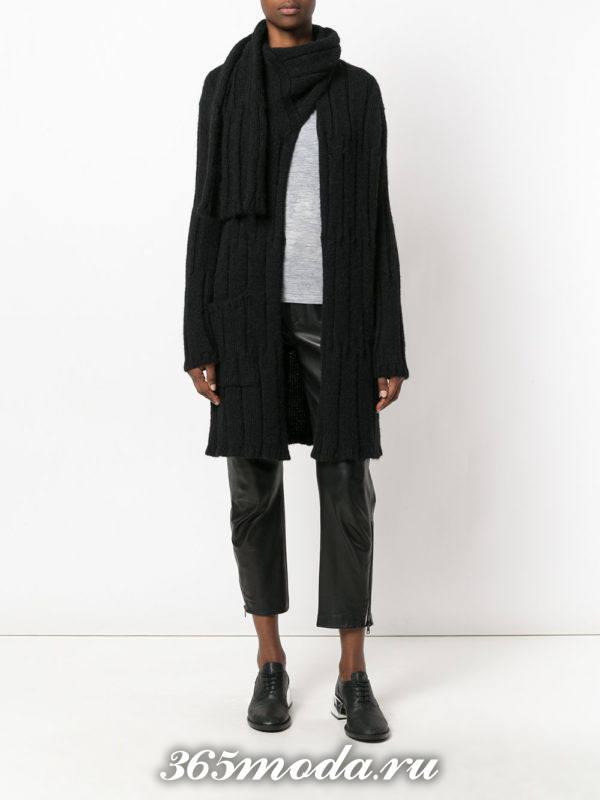 вязаное черное пальто с палантином осень-зима