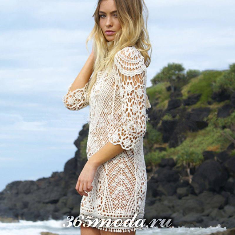вязаное крючком ажурное платье белое с рукавами