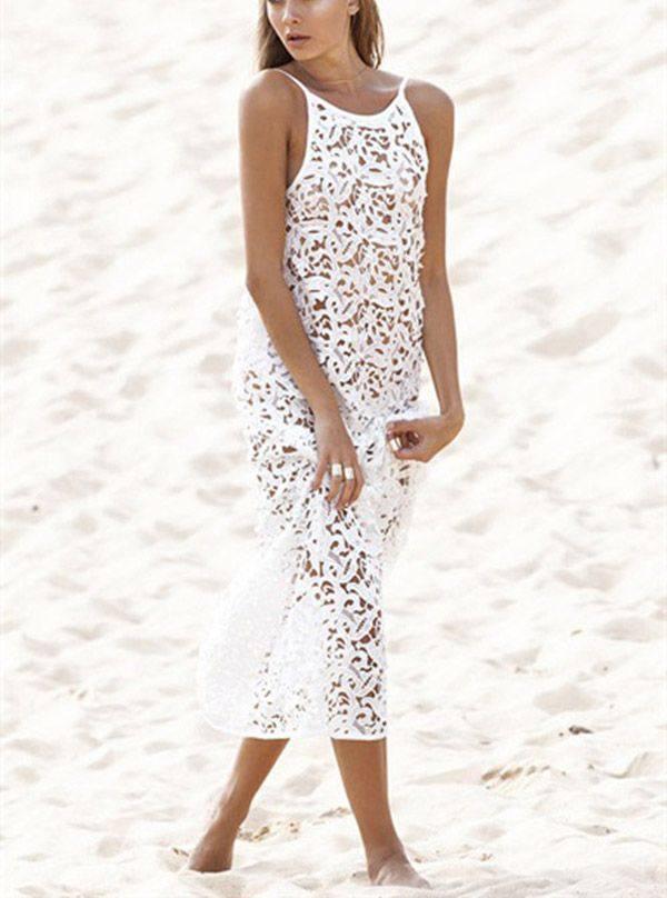 вязаное крючком ажурное платье миди белое