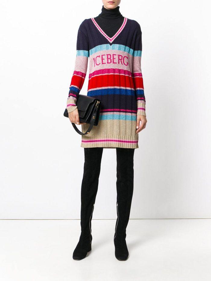 вязаное крючком разноцветное платье свитер