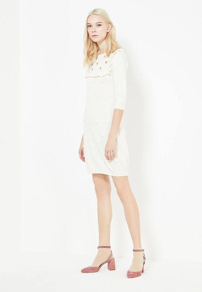 вязаное крючком белое платье свитер
