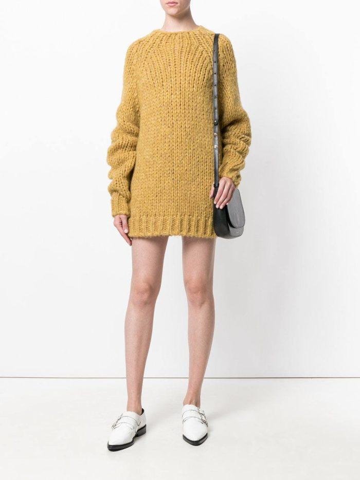 вязаное крючком короткое платье свитер с длинными рукавами