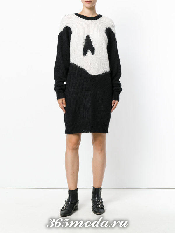 вязаное крючком черное платье свитер с рисунком