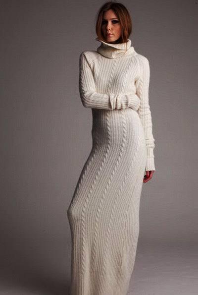 длинное вязаное крючком платье с воротником