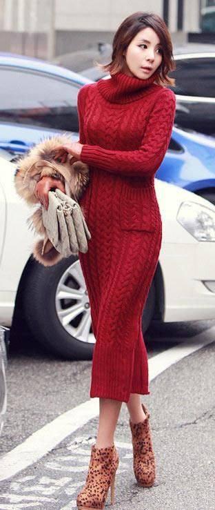 вязаное крючком красное миди платье с воротником