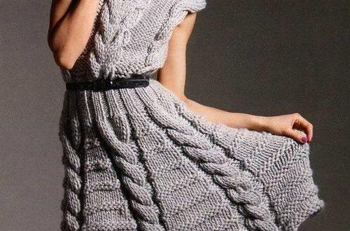 вязаное крючком платье клеш с воротником без рукавов
