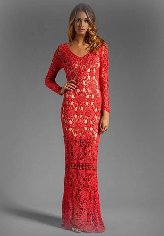 вечернее платье вязаное крючком длинное красное