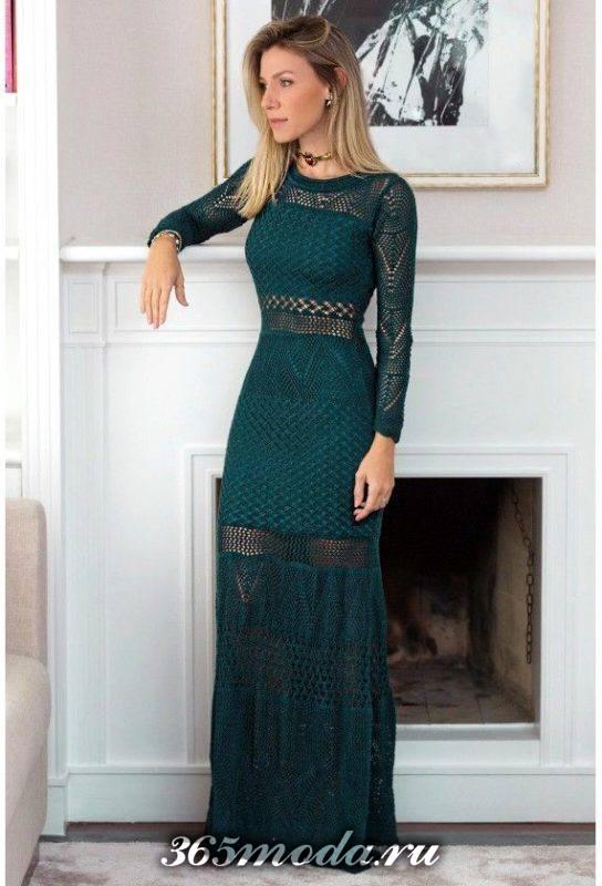 вечернее платье вязаное крючком зеленое длинное