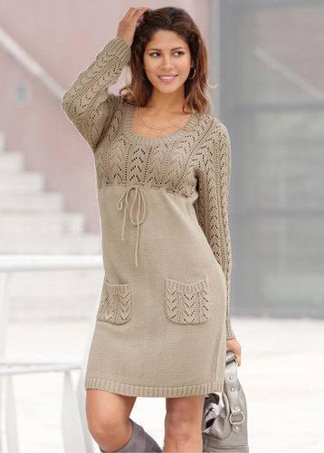 вязаное платье крючком весна осень мини с накладными карманами
