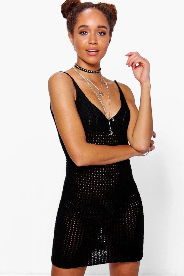 летнее вязаное платье крючком черное прозрачное