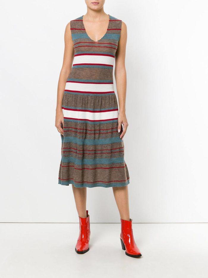 платье миди вязаное крючком полосатое