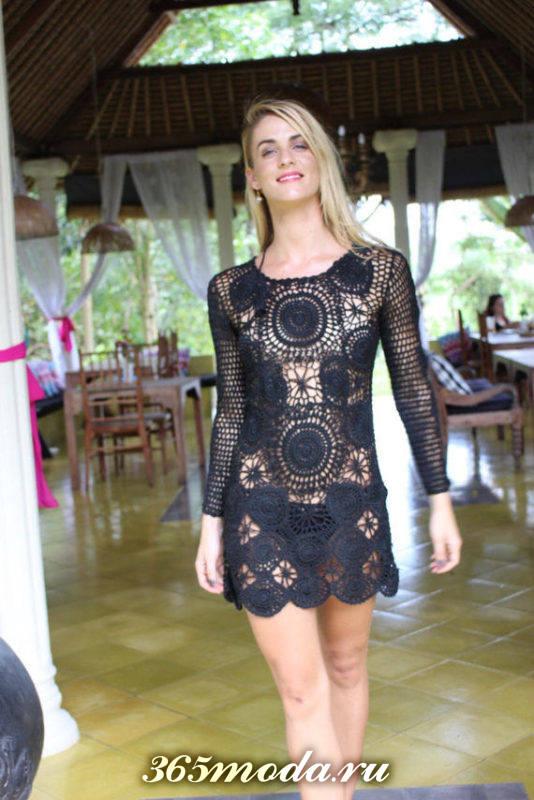 платье вязаное крючком прозрачное черное