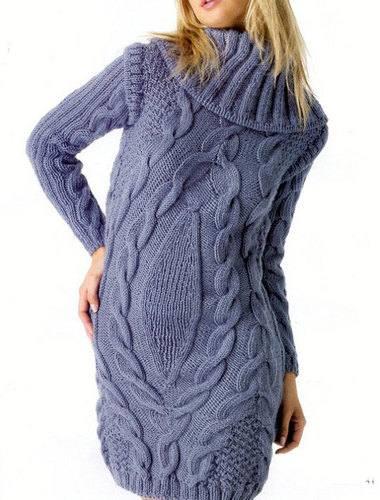 фиолетовое платье вязаное с узорами крючком