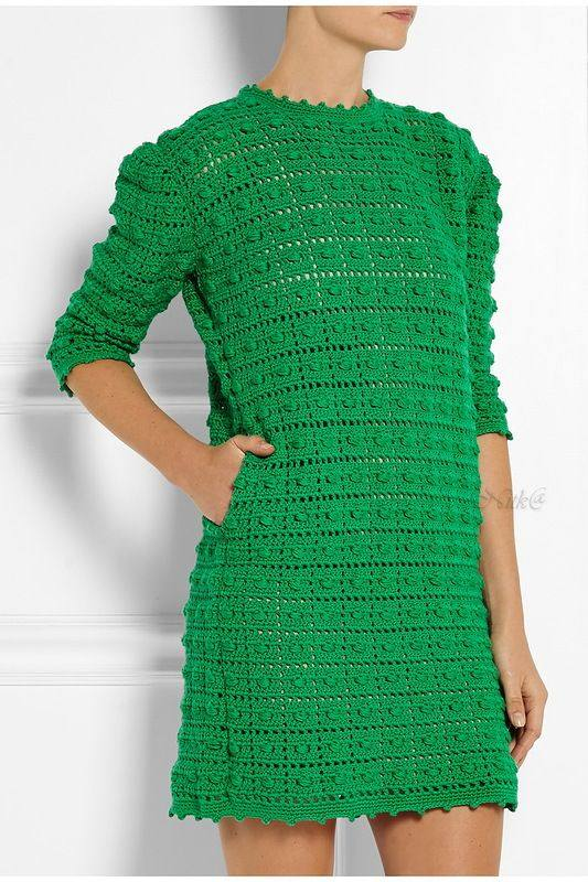 зеленое мини платье вязаное крючком