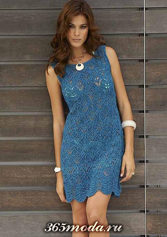 синее платье вязаное крючком без рукавов