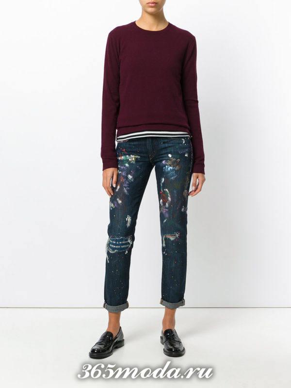 базовые прямые джинсы с декором