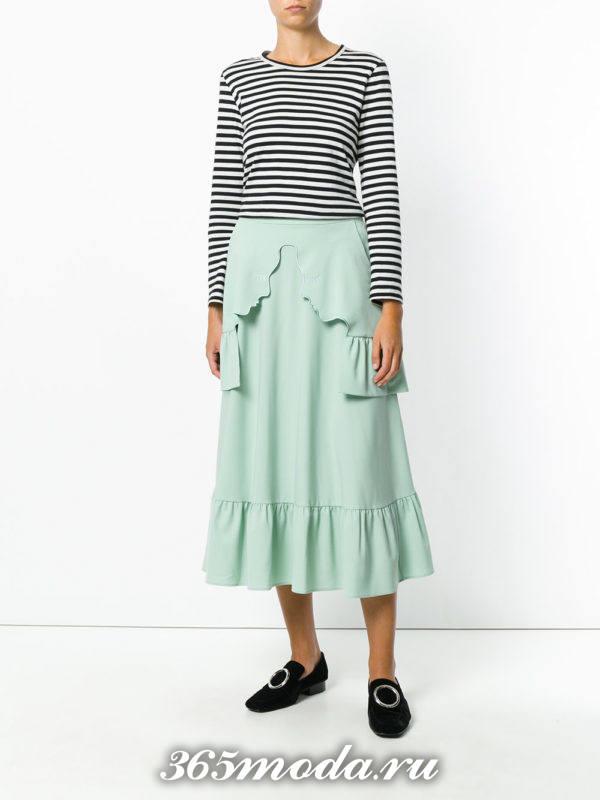базовая юбка мятная с оборками