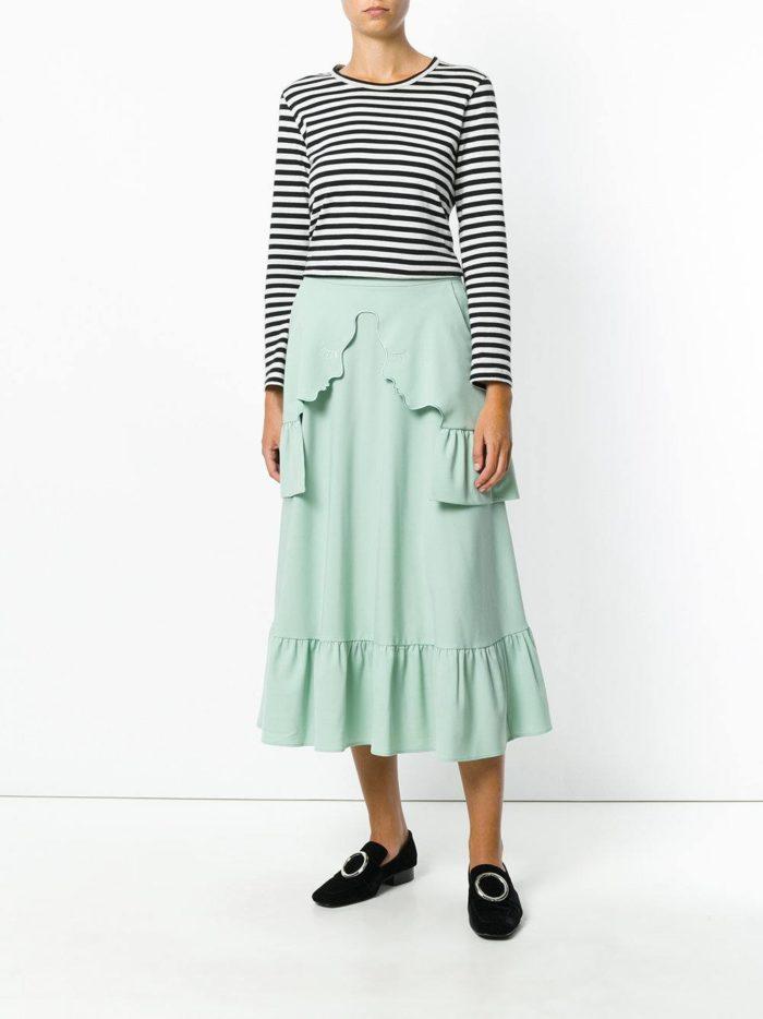 Базовый гардероб 2019-2020: юбка мятная с оборками