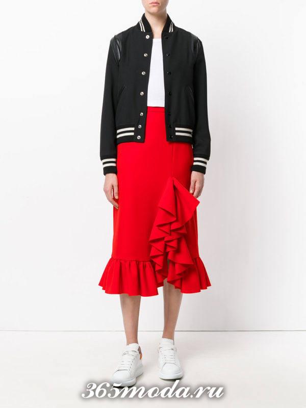 базовая юбка карандаш с оборками