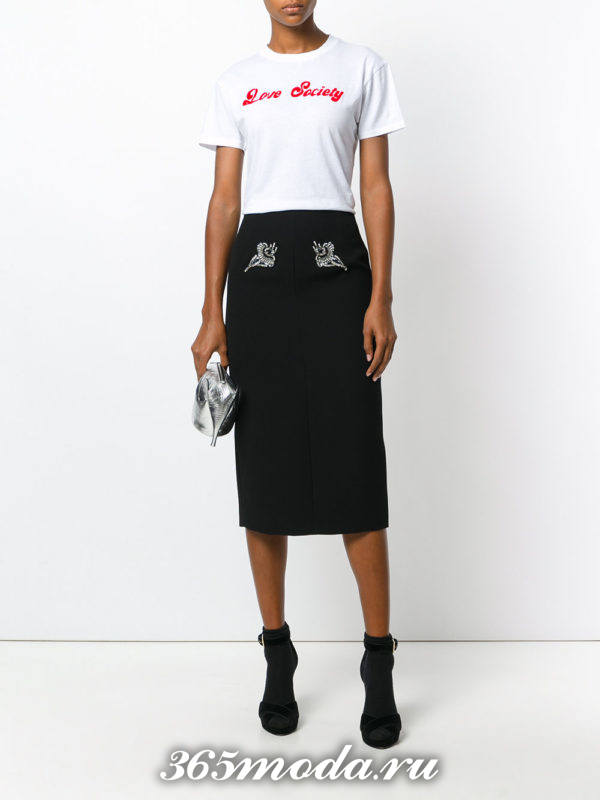базовая черная юбка карандаш