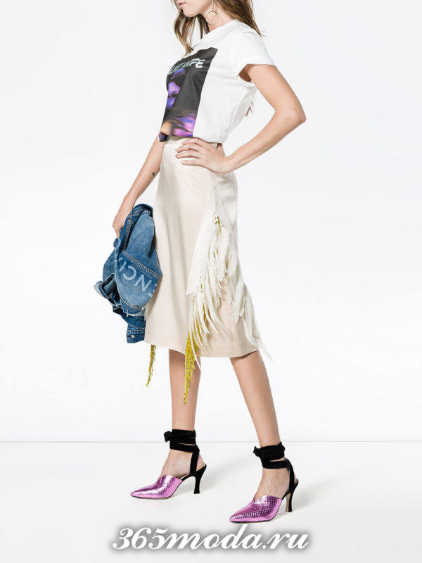 базовая юбка миди с бахромой