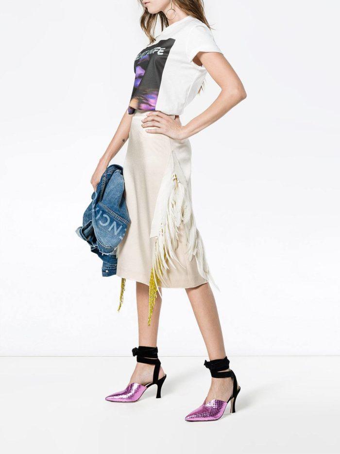 Базовый гардероб: юбка миди с бахромой