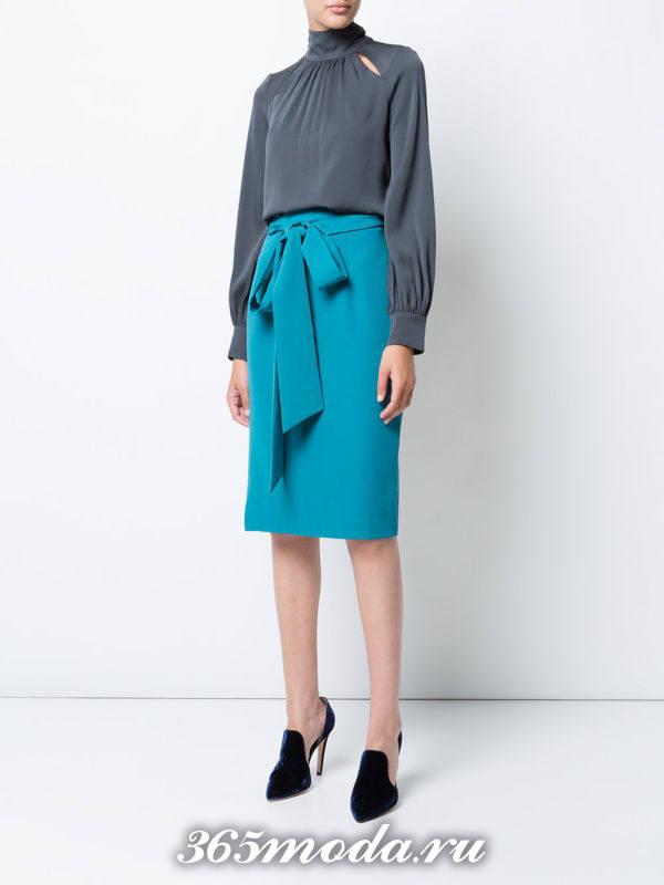 базовая юбка карандаш с бантом