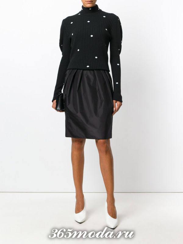 базовая черная юбка тюльпан