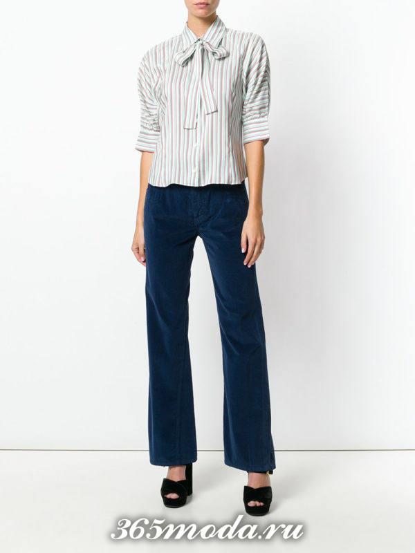 базовые бархатные брюки клеш
