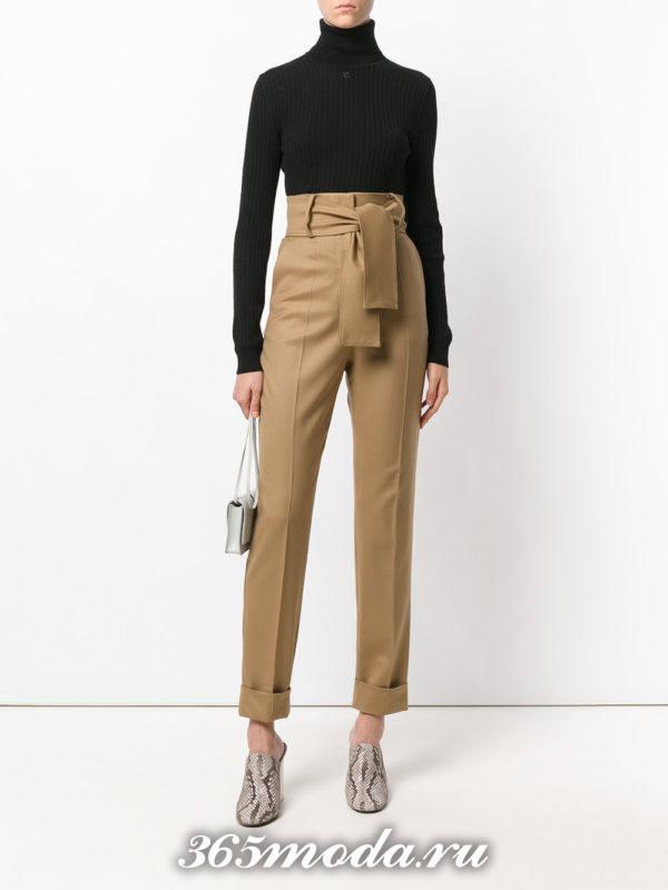 базовые песочные брюки с высокой талией