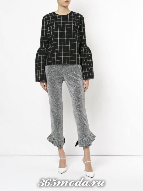 базовые укороченные брюки с оборками