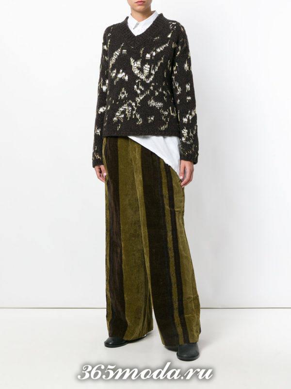 базовые брюки клеш с полосками