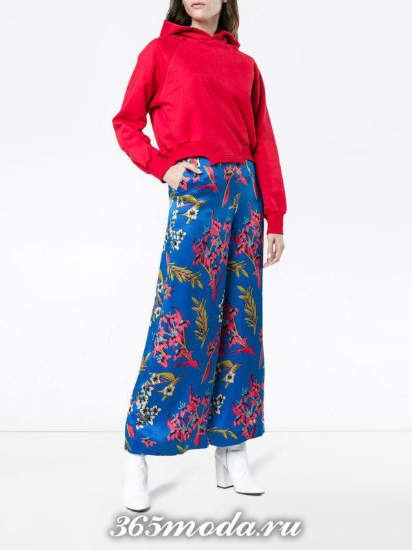 базовые брюки кюлоты с принтом