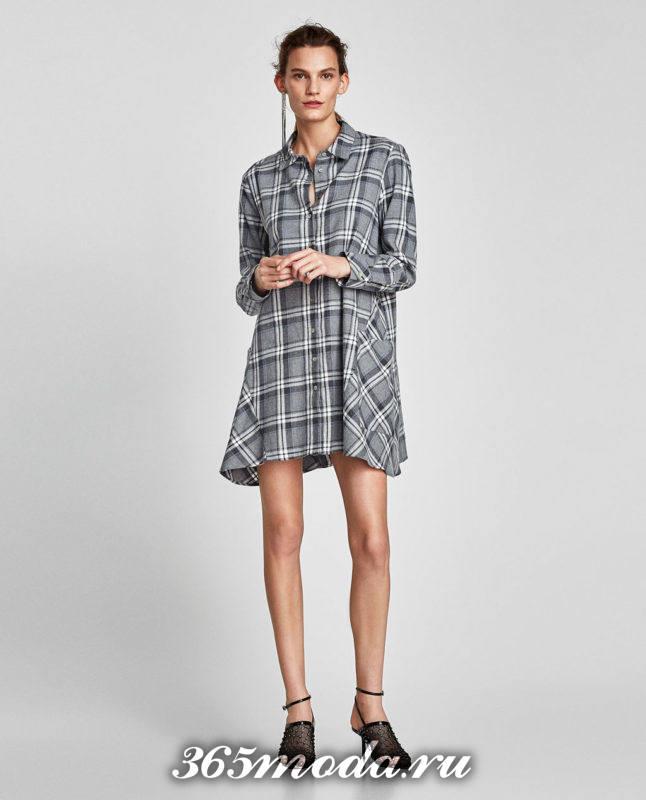 базовое платье рубашка в клетку