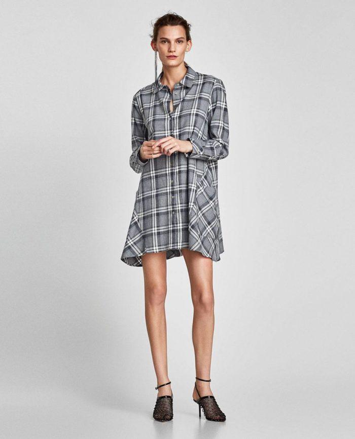 Базовый гардероб для девушки: платье рубашка в клетку