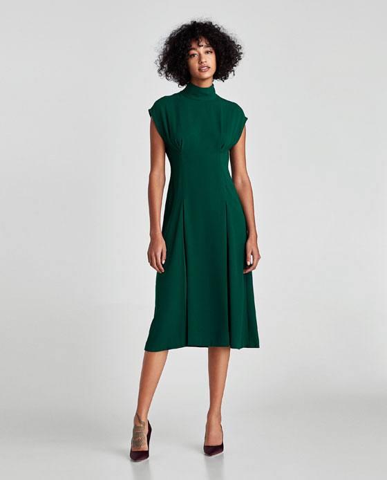 базовое зеленое платье миди