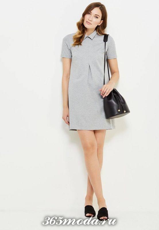 базовое серое мини платье