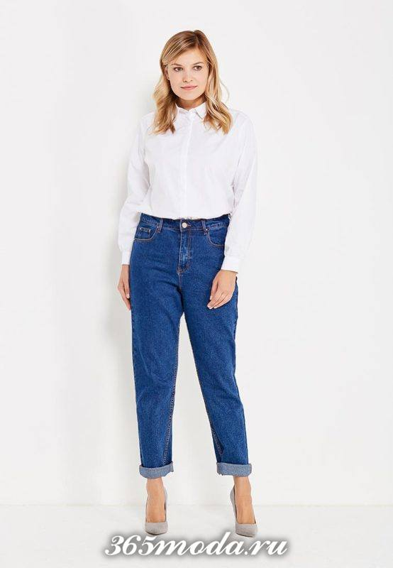 базовые джинсы бойфренды синие