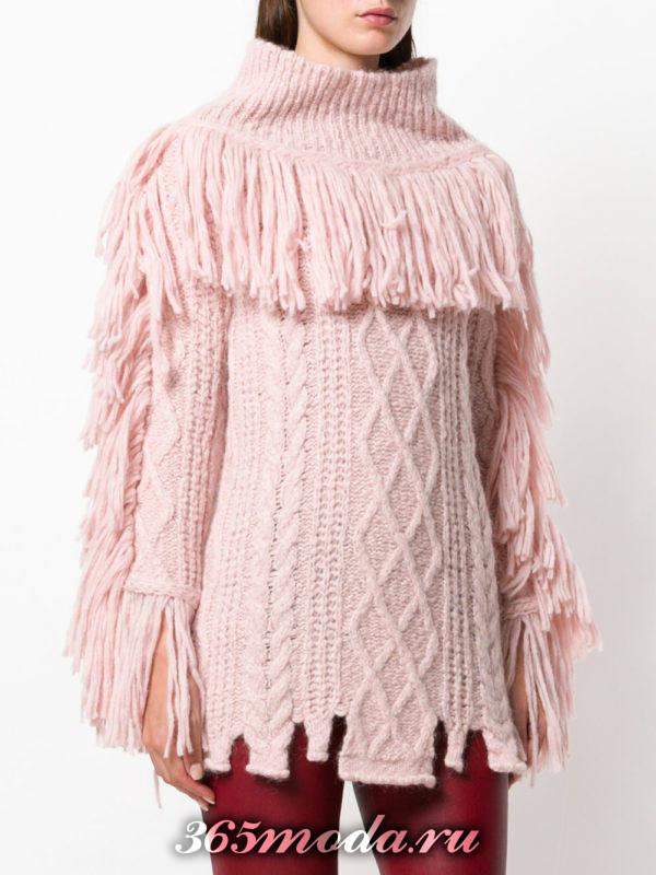 базовый розовый свитер с бахромой