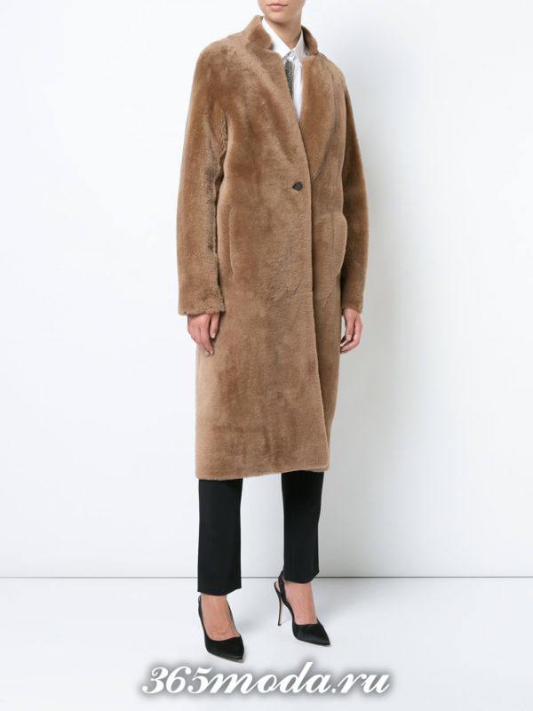базовое меховое пальто