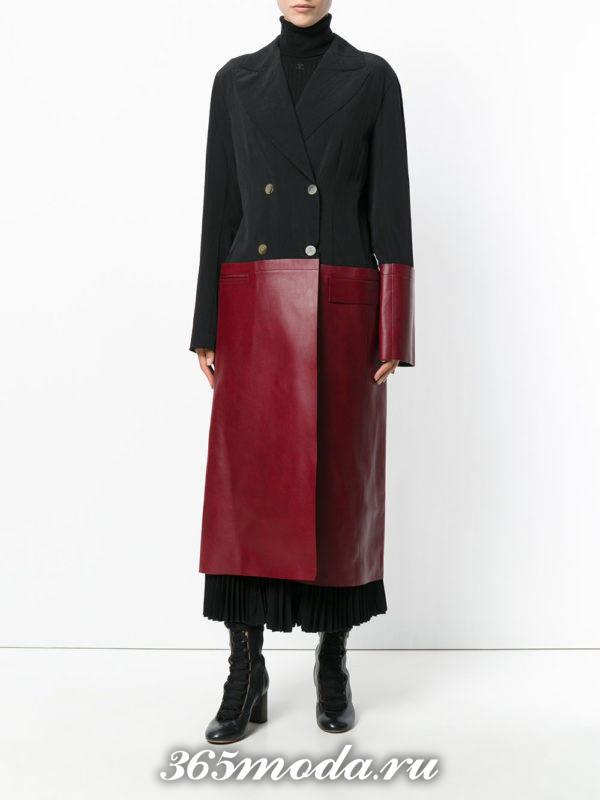 базовое двухцветное пальто