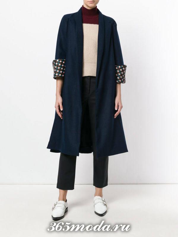 базовое синее пальто