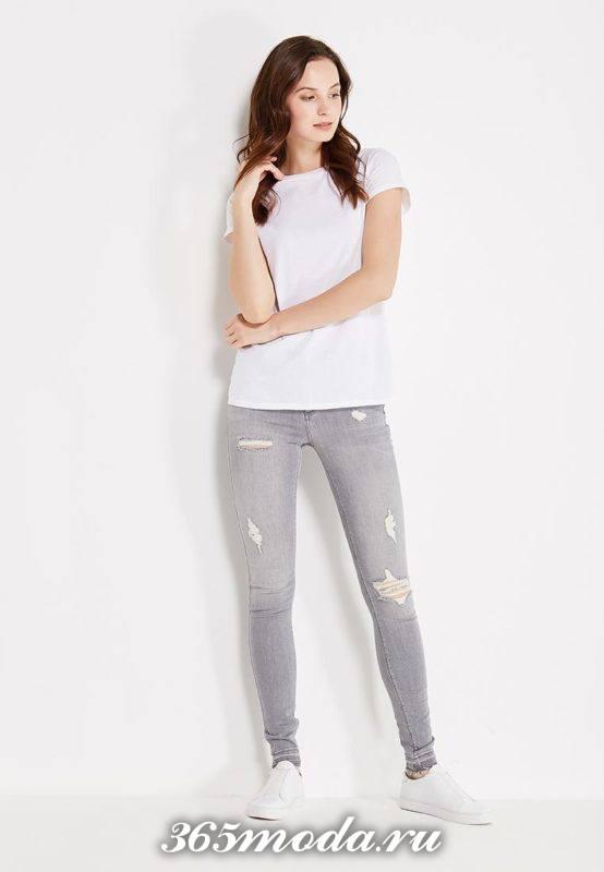 базовые джинсы скинни серые