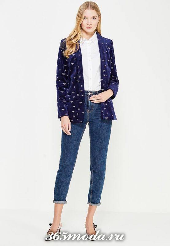 базовый бархатный пиджак с принтом