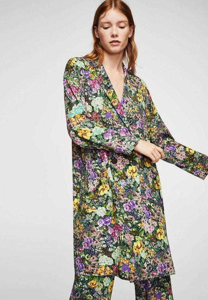 базовый длинный пиджак с принтом