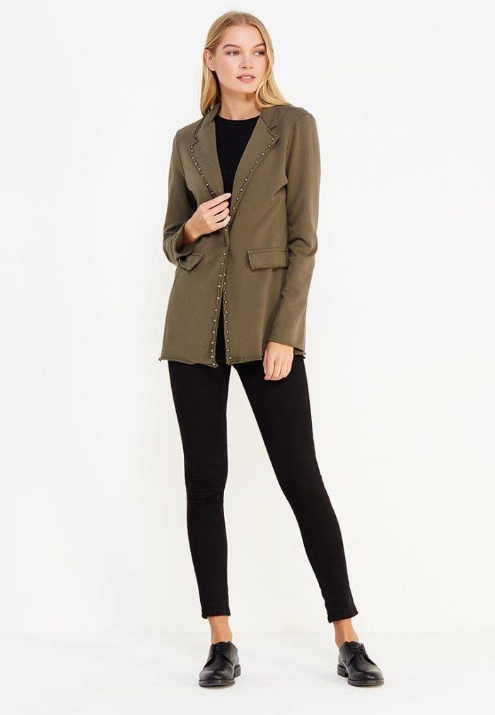 базовый зеленый пиджак с декором